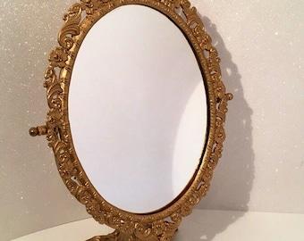 Victorian Style Vanity Mirror Pedestal Hand Painted Gold Leaf Vintage Romantic Boudior Dresser Vanity