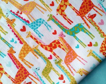 Giraffe Love Fabric by Michael Miller - Colourful Giraffes with hearts (CX 5177)