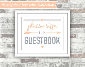 INSTANT DOWNLOAD - Printable Wedding Guestbook Sign - ALEXANDRA Collection: Silver Glitter Effect and Blush Peach-Pink - Digital File - 8x10