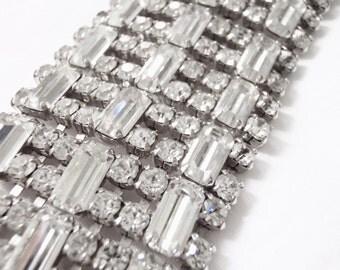 Art Deco Rhinestone Cuff Bracelet, Bridal Bride Wedding Jewelry, Old Hollywood Accessory, Vintage 1930s Crystal Bracelet