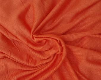 Modal Spandex 2x1 Rib Fabric by the Yard Orange 4 Way Stretch 7/16