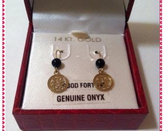 14K Yellow Gold Onyx Dangling Earring
