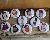 Pack of 5 owl badges (10 designs to choose from)