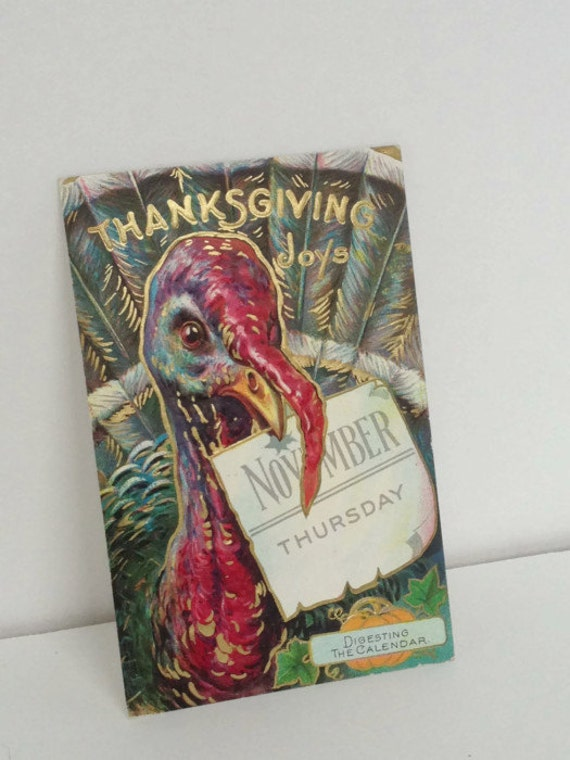 Vintage Thanksgiving Postcard -  Turkey Chromo Lithographic 1910 Series no 4 - Vintage Ephemera - Thanksgiving Vintage