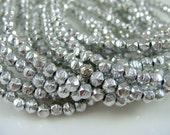 Czech Beads, 3mm English Cut, Czech Glass Beads - Metallic Silver (EC/SM-27000) - Qty. 50