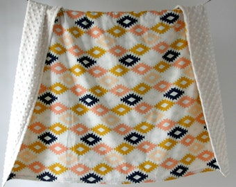 Large Baby/Toddler Blanket, Peach and Mint Aztec Kilim with Ivory Minky Dot