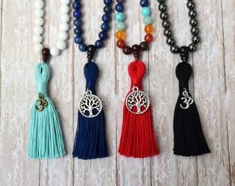 108 Mala Bead Necklace, Wood Mala Bead, Mala Necklace, Tassel Necklace, Buddhist Jewelry, Yoga Necklace, Yoga Beads, Meditation Beads