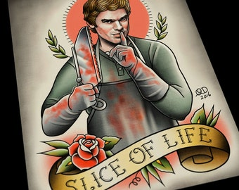 Dexter (Slice of Life) Tattoo Flash Art Print