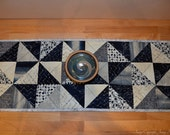 Blue and cream astronomy, constellation fabric table runner. Lunar moon phases and stars quilted table runner. Outer space science geekery