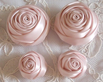 4 Handmade Ribbon Rolled Roses (2 inches,1-1/4 inch) in Sideshow Rose MY-432-163 Ready To Ship