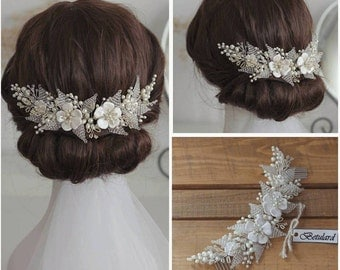 Cyrstal Pearl Flower Bridal Headpiece Hair Comb