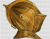 Printable French Medieval Helmet Illustration Element Transparent Digital Image Vintage Clip Art for Transfers Commercial and Personal Use