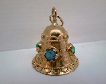"Wonderful 18K Gold Bell Pendant with Turquoise Colored Stones: 1"" Long"