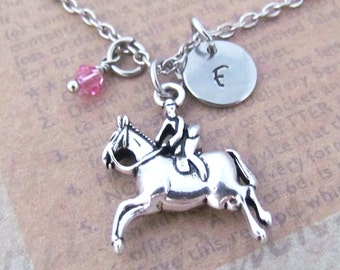 Horseback Riding Charm Necklace, Personalized  Hand Stamped Initial Birthstone Antique Silver Horse Charm Necklace