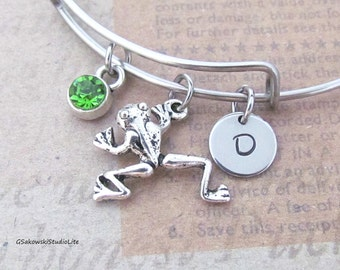 Frog Charm Bangle Personalized Hand Stamped Initial Birthstone Antique Silver FrogCharm Steel Expandable Bangle Bracelet