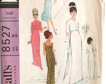 Vintage Wedding Dress Pattern- 1960's Wedding/Bridal Gown Column Dress with Train Sewing Pattern Size 10 Bust 31 McCall's 8527