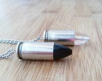 Crystal bullet necklace - mens bullet jewelry - silver bullet necklace - ammo jewelry - crystal bullet - repurposed - bullet necklace