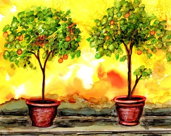 Wedding gift, Italian painting, Florence, original alcohol ink, orange trees, Italy garden scene, wedding, painting wall art, gift for her