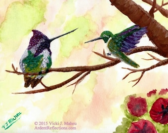 Art Print, watercolor, bird painting, hummingbird painting, hummingbirds, Christmas gifts, hummingbird art, Fine Art Prints Item # P-CH-0115