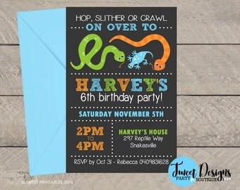 REPTILE BIRTHDAY INVITATION, Printable Reptile invitation, Reptile party invitations, Reptile Party, Reptile Typography Invitation, Snake