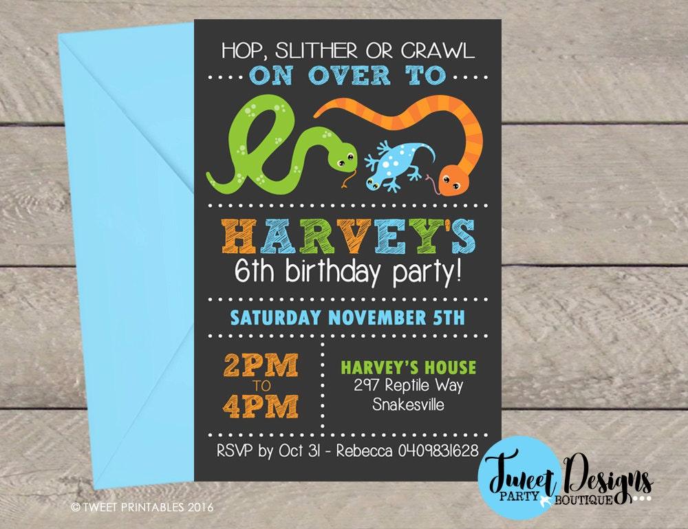 REPTILE BIRTHDAY INVITATION Printable Reptile invitation – Reptile Invitations Birthday