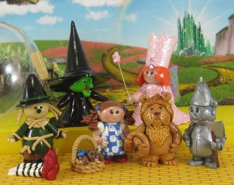 Complete Wizard of Oz set OOAK for fairy garden, ornaments, cake toppers, handmade miniature