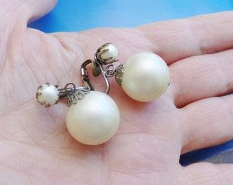 Vintage Pearl Dangle Earrings, Faux Pearl Drop Earrings, 1950s 50s Earrings, Bridal Wedding Earrings, Classic Elegant, Earrings For Bride