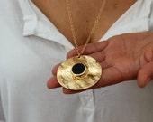 Black Onyx Necklace, Black Onyx Pendent, Onyx and Gold Pendent Necklace, Black Necklace, Gemstone Necklace,Statement Necklace,Long Necklace.