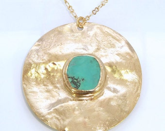 Turquoise Necklace Pendant,Mom, Bohemian Jewelry,Turquoise Gold Pendant,Turquoise Jewelry, Long Gold Necklace,Gemstone Pendant, Inbal Mishan
