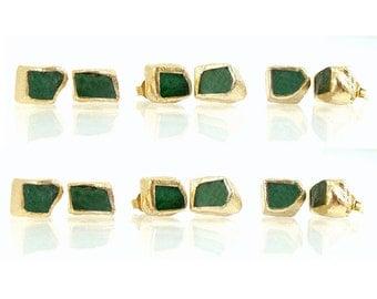 Emerald Earrings, Emerald Stud Earrings, Raw Emerald studs, May Birthstone, Gold Emerald Studs, Raw Stone Jewelry, Crystal, Genuine Emerald.