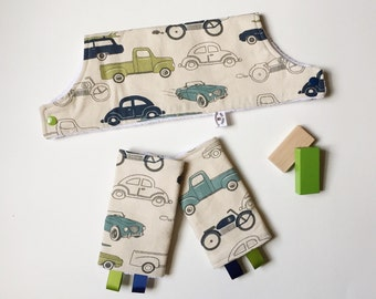 Drool Pads & Bib SET - Retro Ride - Vintage Cars fit Lillebaby Ergo Beco and More