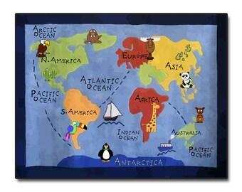 Kids World Map Wall Art on Wood
