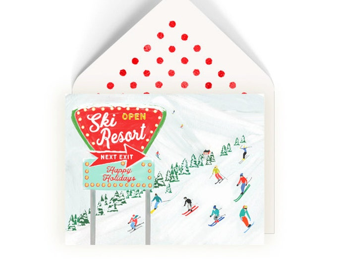 Ski Resort Skier Card Happy Holidays