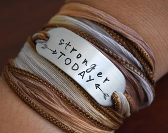 Stronger Today - Hand Stamped Ribbon Wrap Bracelet