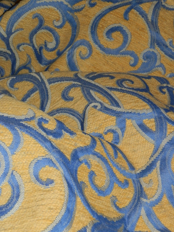 Vintage Country French Fabric Blue gold Upholstery Fabric Make