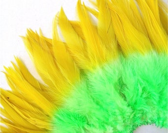 "150+ Rooster Feathers, saddle, hackle, 5-7"", double dyed, triple dyed, earring feathers, millinery, per strung foot"