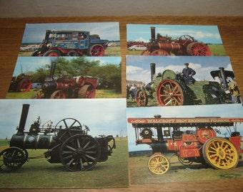 Vintage unused postcards featuring steam powered road vehicles