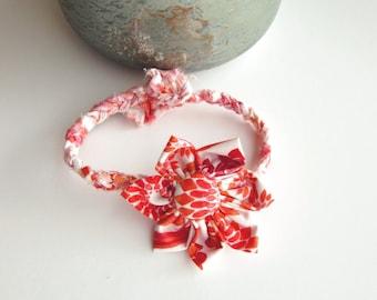 Braided bracelets Bohemian anklet Orange Fabric jewelry Flower bracelet Button bracelet Button Wrist wraps Handmade braided bracelet