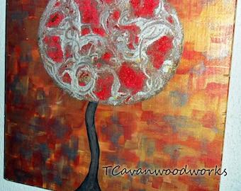 mixed media tree painting, texture acrylic painting, modern abstract tree art, metallic wall art, mixed media acrylic painting, copper red