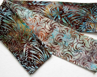 "Reversible Pinwheel Scarf, Whirlygig Batik Scarf, Robin's Egg Blue and Brown Scarves, Summer Scarf, 5"" Wide 70"" Long, Embellished Scarves"