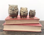 vintage brass owls • brass figurines • set of three • bookshelf | desk decor • brass owl trio