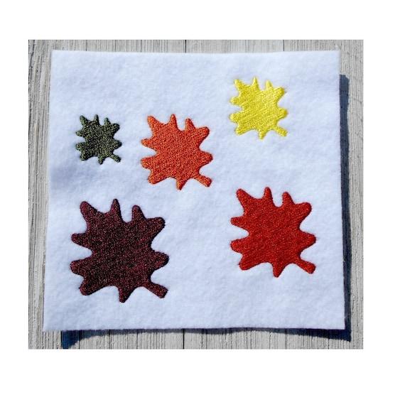 Embroidery design mini autumn leaf