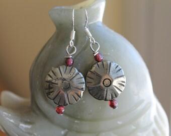 Flower Pyrite with Red Garnet Earrings, sterling silver hook