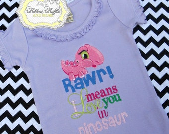 Rawr Means I love You Embroidered Shirt, Valentine's Shirt