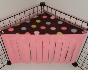 Peek-a-Boo Corner.. Brown polka dots with Bubble gum pink