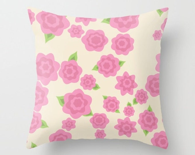 Pink Flower Pillow Cover - Cover Only - Old Fashioned Pink Flowers - Throw Pillow - Sofa Pillow - Home Decor - Made to Order