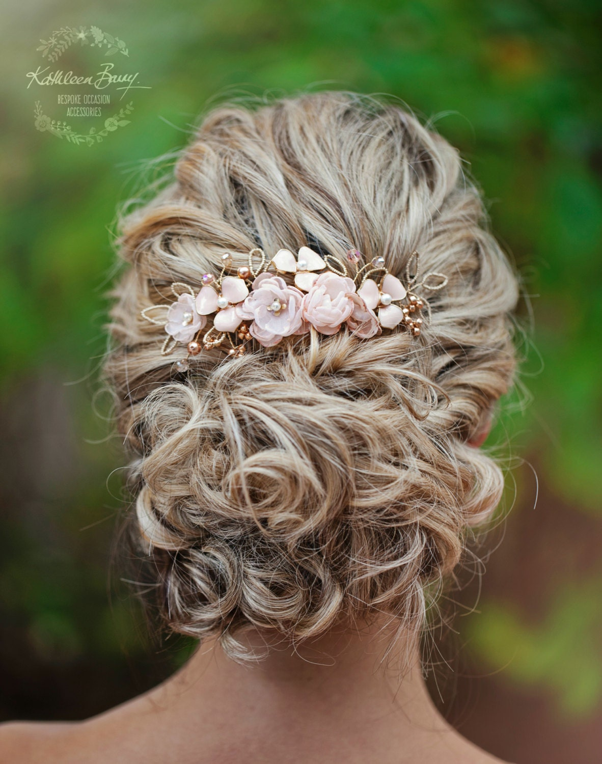 Rose gold wedding hair accessories - Rose Gold Hair Comb Hairpiece Blush Pink Wedding Bridal Hair Accessories Veil Comb Gold Silver Option