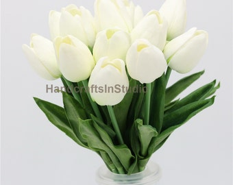 PU Real Touch Tulips Cream White Tulip 30 Flowers For Wedding Flower Supplies Bridal Bouquet Flowers