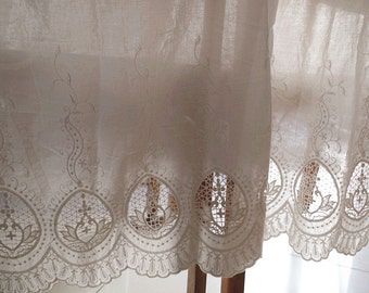 off white natural cotton lace fabric with hollowed out floral pattern, cotton eyelet lace fabric