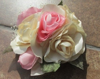 Beautiful Ivory and Pink Roses Hair Clip/Pin, Wedding, Maid of Honor, Prom, Special Occasion